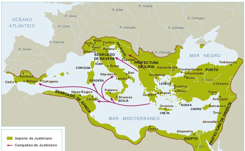 Mapa imperio BIzantino siglo VI