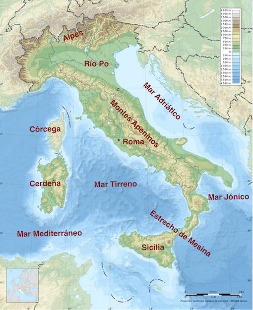 Relieve de la península italiana