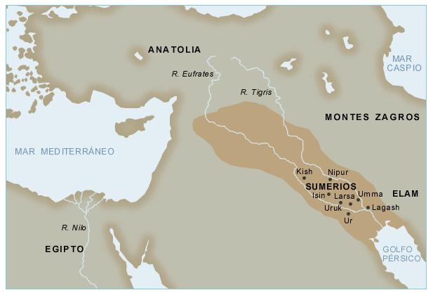 Mapa de Mesopotamia y Egipto