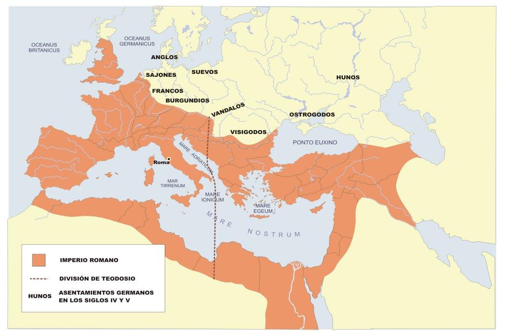 Mapa situación del Imperio tras la dividión de Teodosio