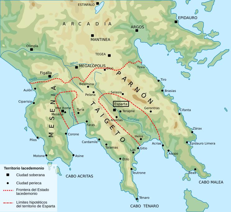 Mapa de la Península del Peloponeso