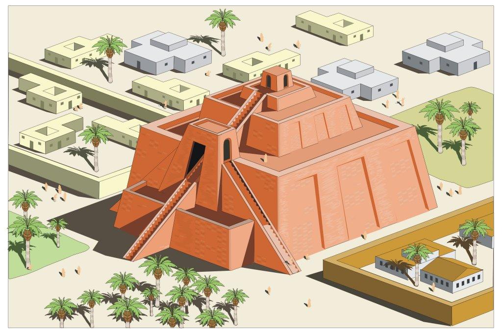 Reconstrucción de un zigurat mesopotámico