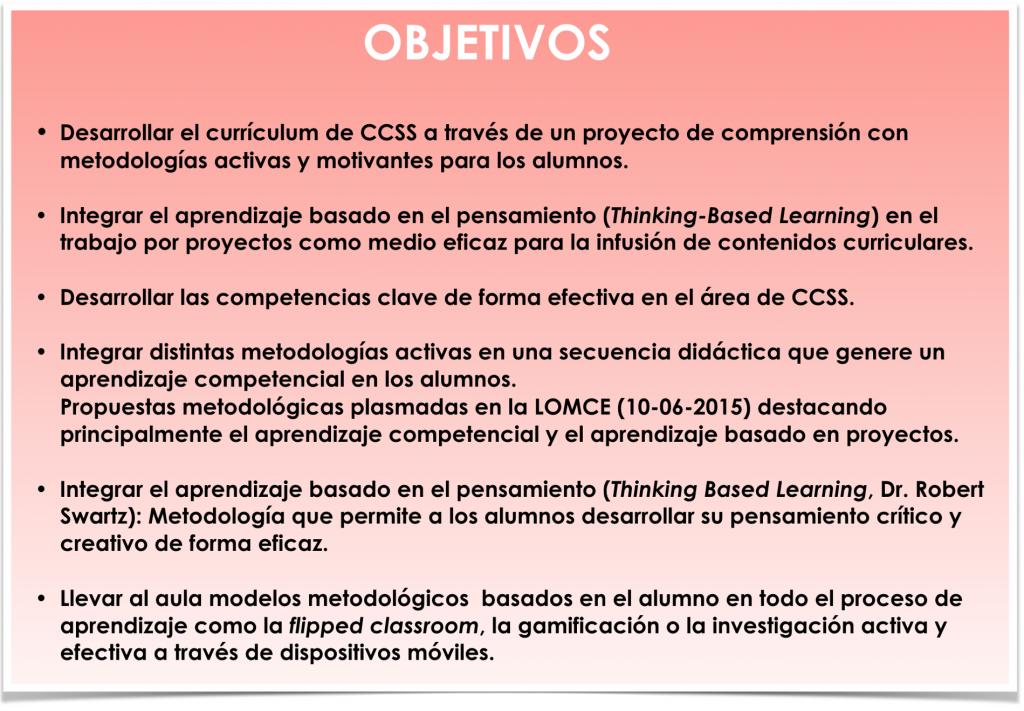Objetivos curriculares y metodológicos del proyecto