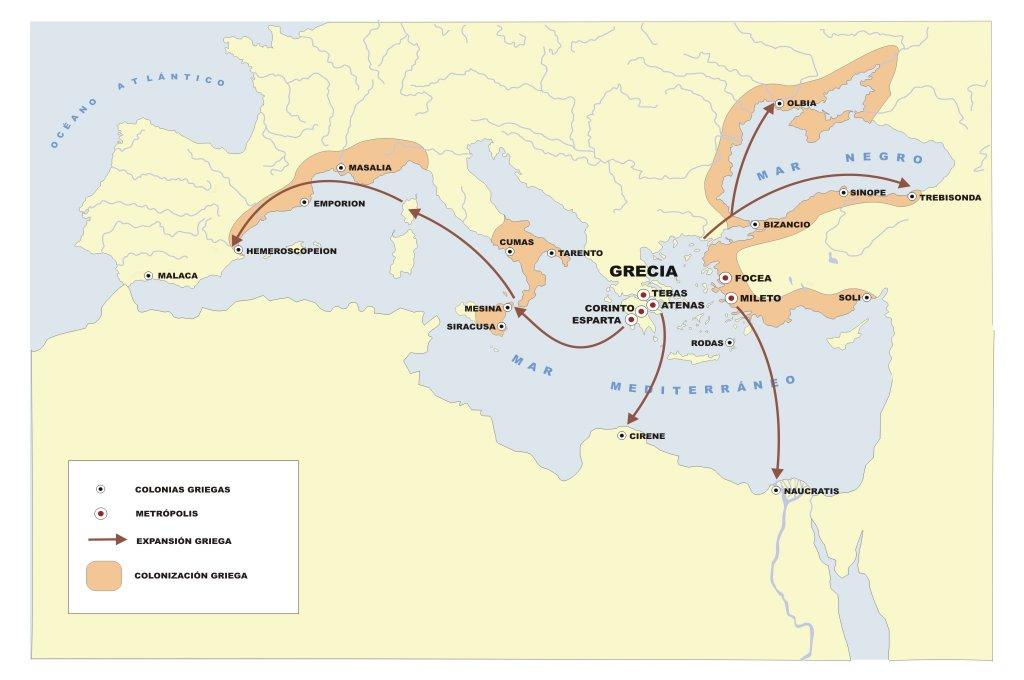 nombre de las principales colonias griegas