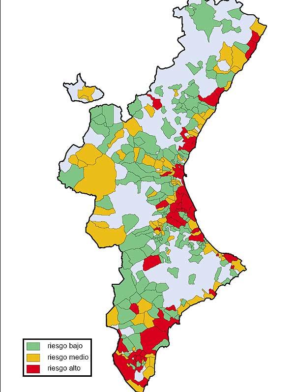 Mapa de zonas de riesgo de sufrir inundaciones en la C. Valenciana