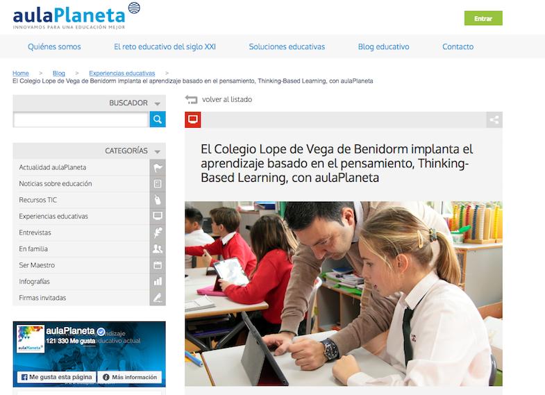Artículo en la web de aulaPlaneta