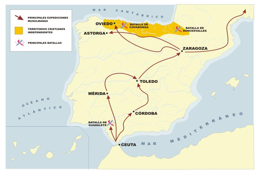 Mapa con los núcleos de resistencia cristiana de la península en el siglo VIII