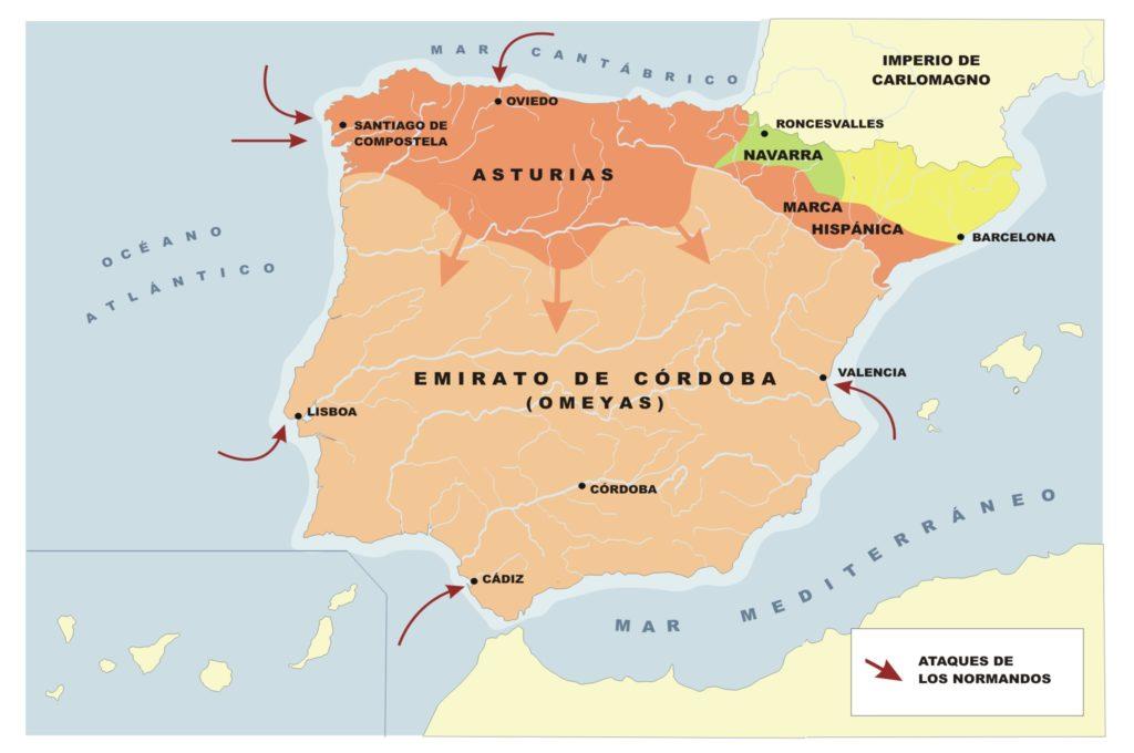 Mapa de la Península Ibérica en el siglo IX