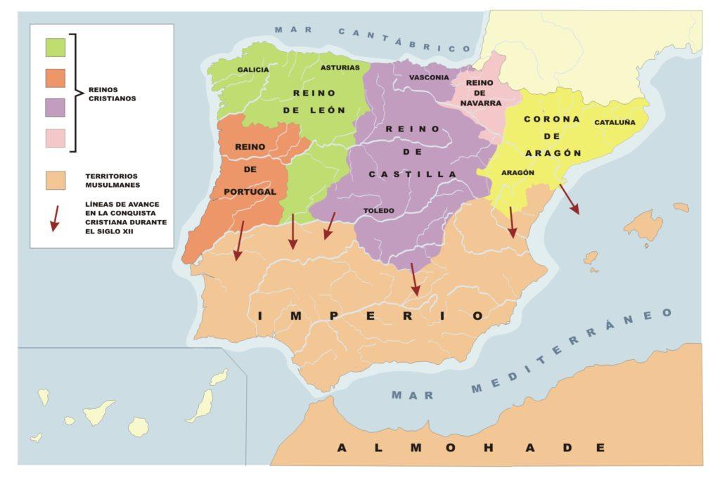 Mapa de la conquista cristiana de la península hacia el siglo XII