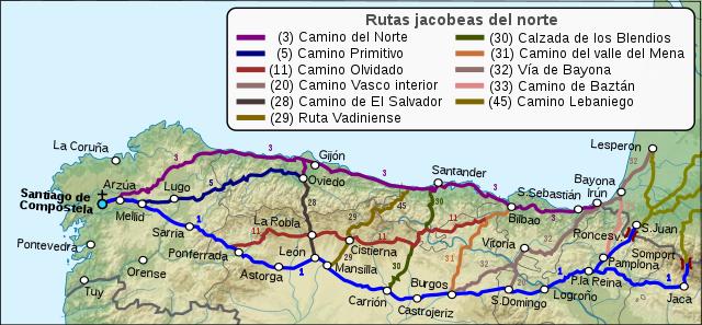 Camino de Santiago, ruta del norte peninsular