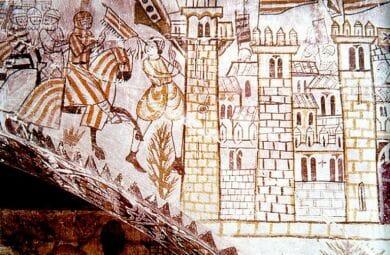 Fresco del Castillo de Alcañiz que muestra las tropas de Jaime I entrando en Valencia