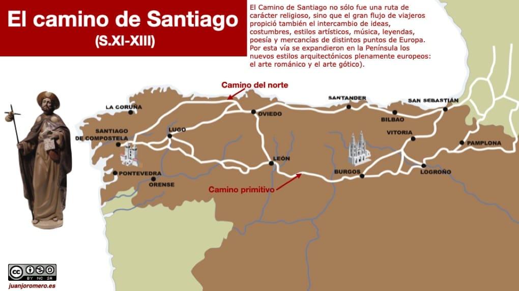 El Camino de Santiago junto a Roma y Jerusalén, se convirtió en una de las rutas de peregrinación más importantes de la Edad Media